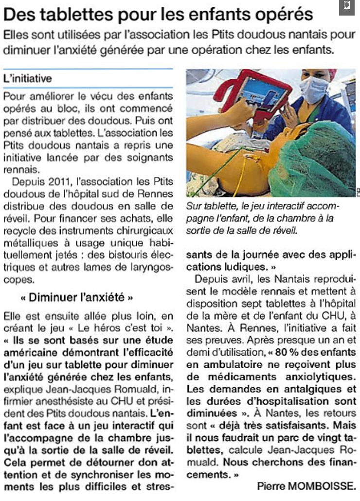 Article Ouest France du 5 novembre 2016
